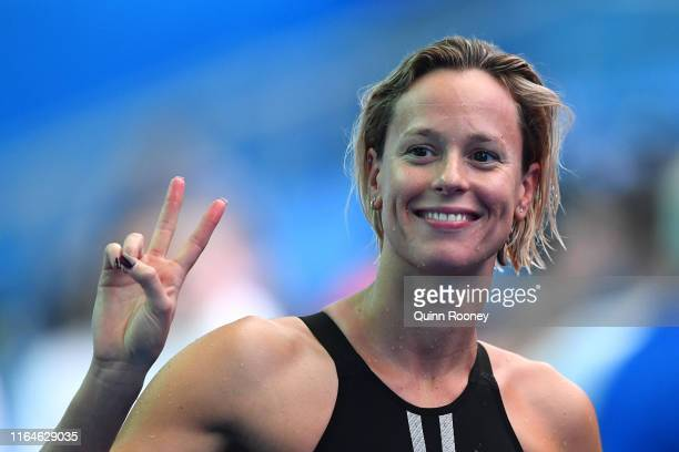 Federica Pellegrini of Italy reacts after the Women's 4x100m Medley Relay heats on day eight of the Gwangju 2019 FINA World Championships at Nambu...