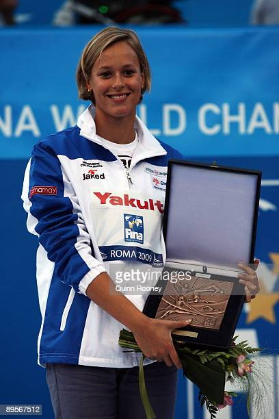 Federica Pellegrini of Italy receives an award after the 13th FINA World Championships at the Stadio del Nuoto on August 2, 2009 in Rome, Italy.