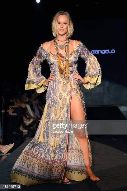 Federica Pellegrini walks the runway during the Raffaella D'Angelo fashion show as a part of Milan Fashion Week Womenswear Spring/Summer 2014 on...