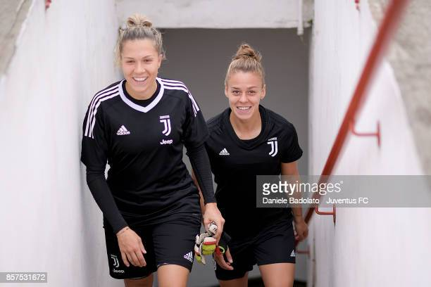 Federica Russo and Lisa Boattin during a Juventus Women training session on October 4 2017 in Turin Italy