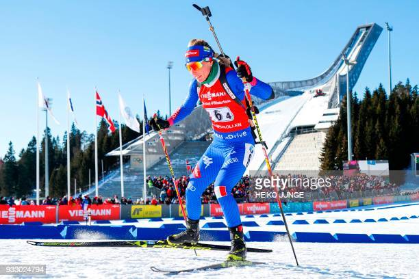 Federica Sanfilippo from Italy competes during the IBU Biathlon World Cup Women 4x6km Relay Competition in Holmenkollen Oslo on March 17 2018 / AFP...