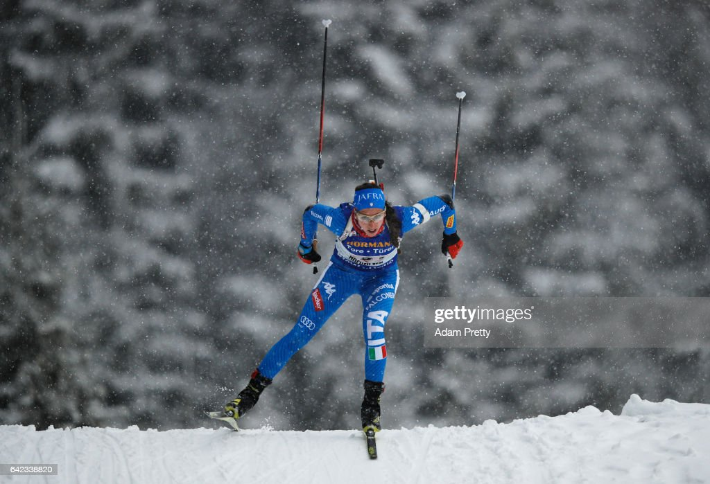 Federica Sanfilippo of Italy in action during the Women's 4x 6km relay competition of the IBU World Championships Biathlon 2017 at the Biathlon Stadium Hochfilzen on February 17, 2017 in Hochfilzen, Austria.