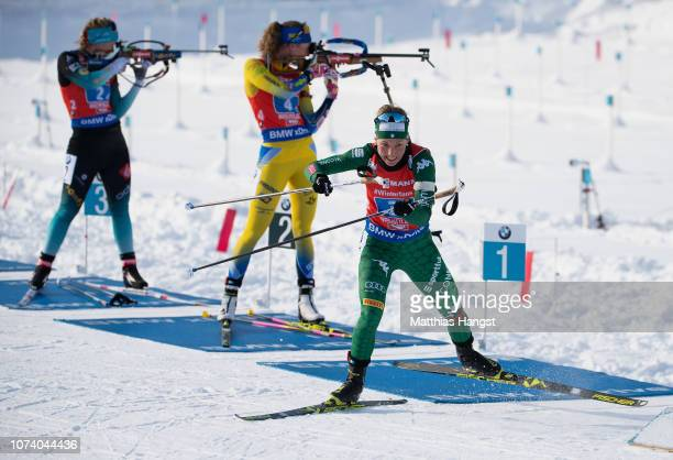 Federica Sanfilippo of Italy leaves the shooting range after the last shooting in the IBU Biathlon World Cup Women's 4x6 km Relay on December 16 2018...