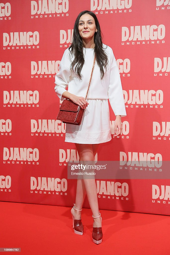 Federica Sarno attends the 'Django Unchained' premiere at Cinema Adriano on January 4, 2013 in Rome, Italy.