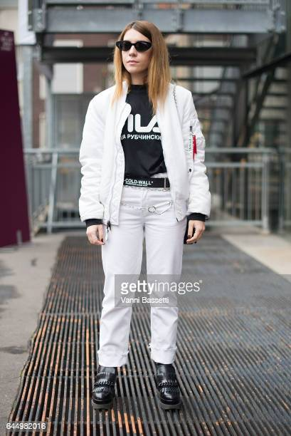 Federica Sciancalepore poses wearing an Opening Ceremony bomber jacket Gosha Rubchinskiy tshirt and OffWhite belt after the Lucio Vanotti show during...