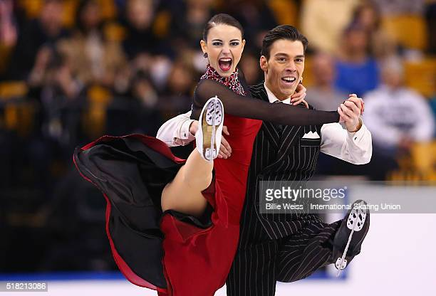 Federica Testa and Lukas Csolley of Slovakia compete during Day 3 of the ISU World Figure Skating Championships 2016 at TD Garden on March 30 2016 in...