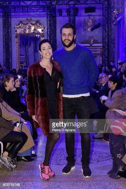 Federica Torti and Federico Balocco attend the Simonetta Ravizza show during Milan Fashion Week Fall/Winter 2018/19 on February 24 2018 in Milan Italy