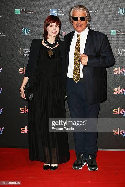 Federica Vincenti and Michele Placido attend the '60 David Di Donatello' at Studio on April 18 2016 in Rome Italy