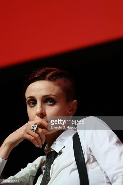 Federica Vincenti attends a press conference for '7 Minuti' during the 11th Rome Film Festival at Auditorium Parco Della Musica on October 21 2016 in...