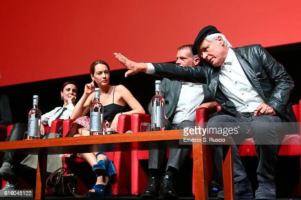 Federica Vincenti Cristiana Capotondi Stefano Massini and Michele Placido attend a press conference for '7 Minuti' during the 11th Rome Film Festival...