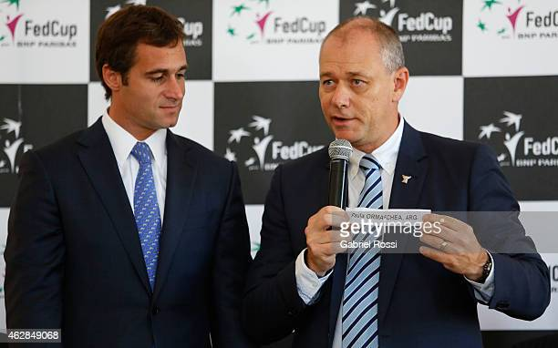 Federico Achaval Mayor of Pilar and Wayne Mckewen Referee holds up the name of Paula Ormaechea for the first single match during the draw ceremony...