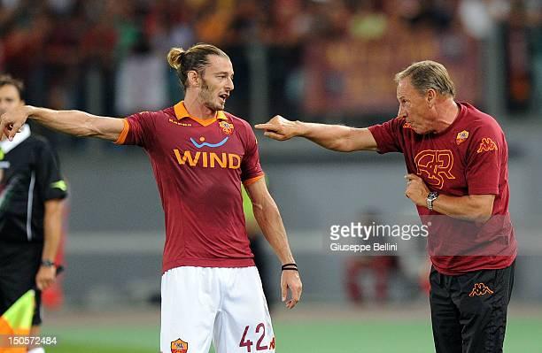Federico Balzaretti of Roma and Zdenek Zeman head coach of Roma during the preseason friendly match between AS Roma and Aris Thessaloniki FC at...