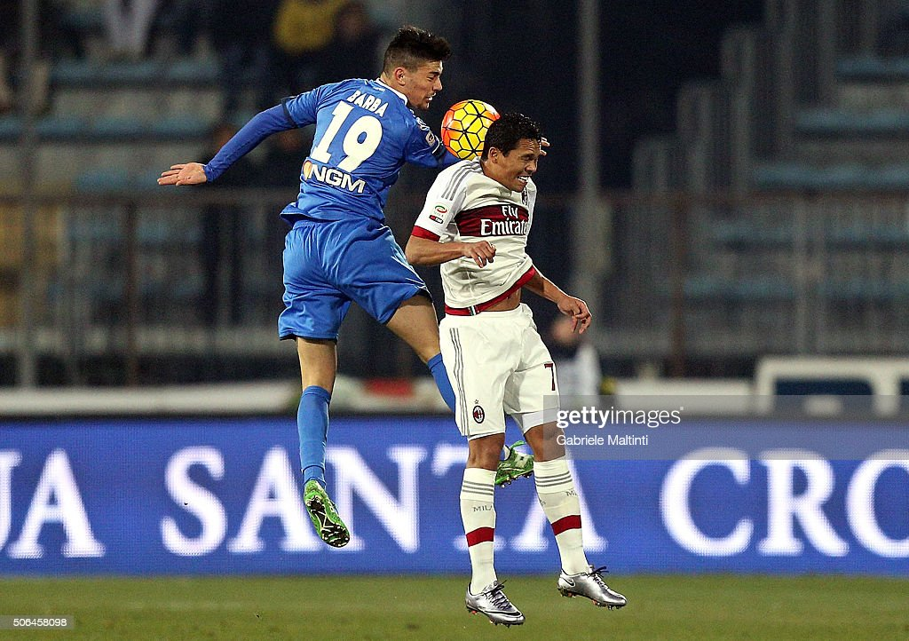 Federico Barba of Empoli FC battles for the ball with Carlos Bacca of AC Milan during the Serie A match between Empoli FC and AC Milan at Stadio Carlo Castellani on January 23, 2016 in Empoli, Italy.