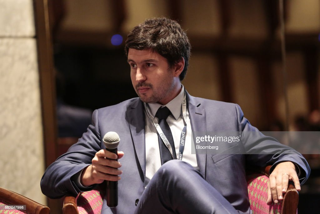 Federico Bazan, chiefe executive officer of the Nuevo Banco de la Rioja SA, listens during the Argentina Sub-Sovereign and Infrastructure Finance Summit in Buenos Aires, Argentina, on Wednesday, Nov. 29, 2017. The event will join Argentina's provincial and municipal leaders together with regional and international investors, infrastructure developers, financiers and advisers to discuss sub-sovereign financial and investment strategies and explore what needs to be done to efficiently put capital to work in new infrastructure projects. Photographer: Sarah Pabst/Bloomberg via Getty Images