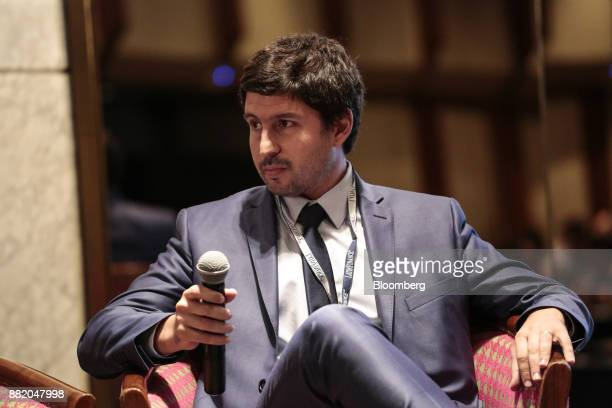 Federico Bazan chiefe executive officer of the Nuevo Banco de la Rioja SA listens during the Argentina SubSovereign and Infrastructure Finance Summit...