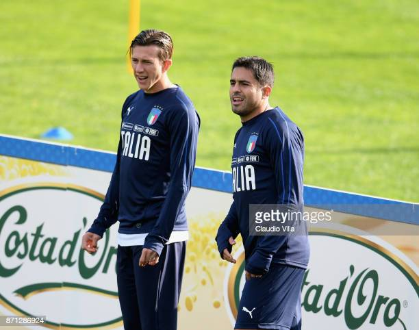 Federico Bernardeschi and Citadin Martins Eder of Italy look on during a training session at Italy club's training ground at Coverciano on November 7...