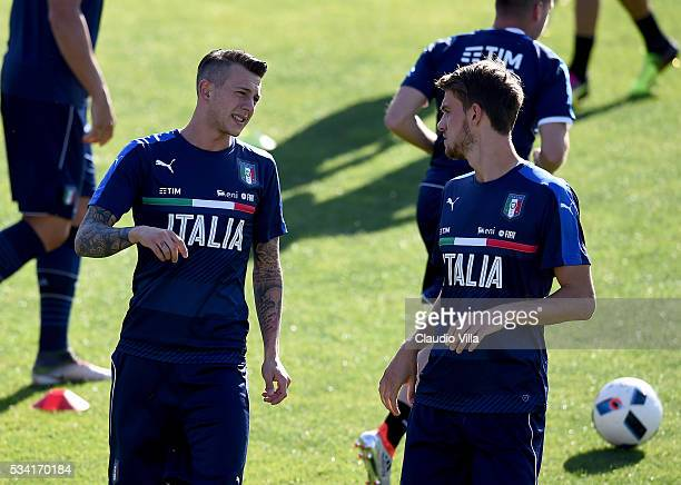 Federico Bernardeschi and Daniele Rugani of Italy chat during the Italy training session at the club's training ground at Coverciano on May 25 2016...