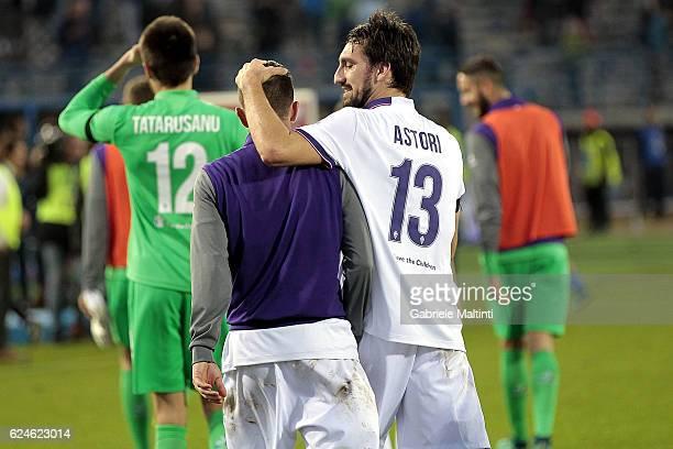 Federico Bernardeschi and Davide Astori of ACF Fiorentina celebrates the victory after during the Serie A match between Empoli FC and ACF Fiorentina...