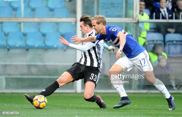 Federico Bernardeschi and Ivan Strinic during the Serie A match between UC Sampdoria and Juventus at Stadio Luigi Ferraris on November 19 2017 in...