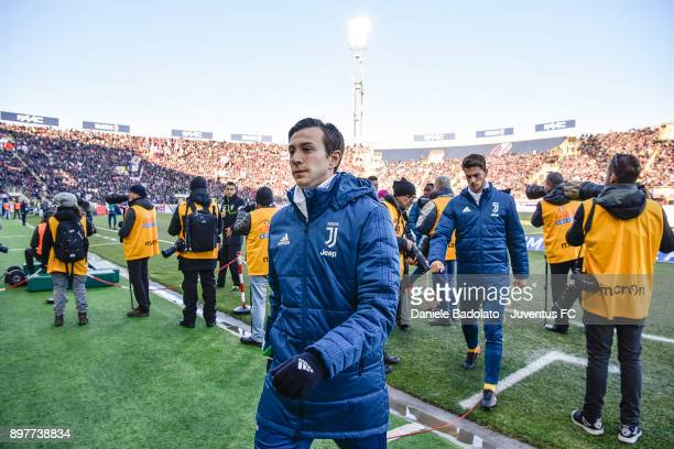 Federico Bernardeschi during the Serie A match between Bologna FC and Juventus at Stadio Renato Dall'Ara on December 17 2017 in Bologna Italy