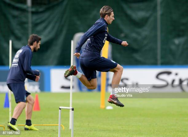 Federico Bernardeschi in action during the training session at Italy club's training ground at Coverciano on November 9 2017 in Florence Italy