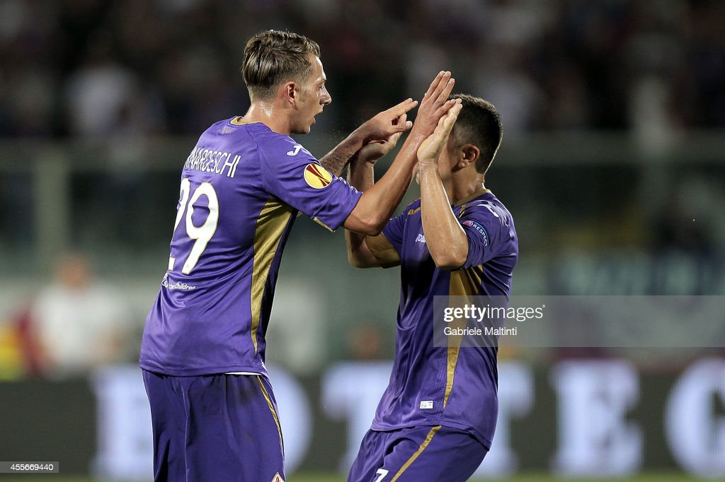 Federico Bernardeschi of ACF Fiorentina celebrates after scoring a goal during the UEFA Europa League group K match between ACF Fiorentina and EA Guingamp at Stadio Artemio Franchi on September 18, 2014 in Florence, Italy.