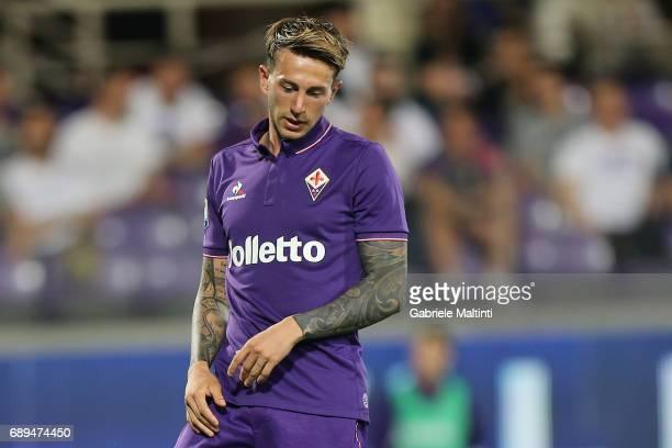 Federico Bernardeschi of ACF Fiorentina reacts during the Serie A match between ACF Fiorentina and Pescara Calcio at Stadio Artemio Franchi on May 28...