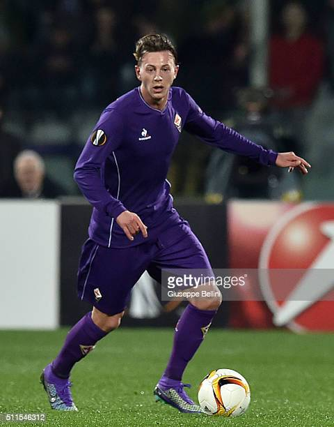 Federico Bernardeschi of Fiorentina in action during the UEFA Europa League Round of 32 first leg match between Fiorentina and Tottenham Hotspur at...