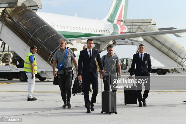 Federico Bernardeschi of Italy arrive to Genoa Airport before a training session on October 9 2018 in Genoa Italy