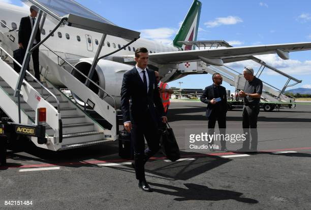 Federico Bernardeschi of Italy arrives at Florence Airport on September 3 2017 in Florence Italy