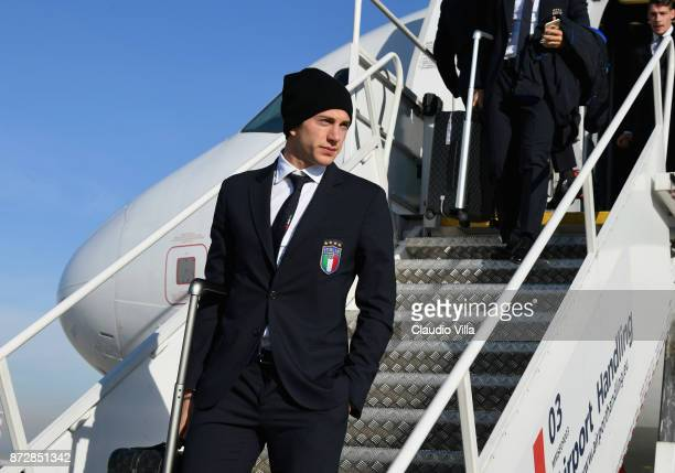 Federico Bernardeschi of Italy arrives at Malpensa airport on November 11 2017 in Milan Italy