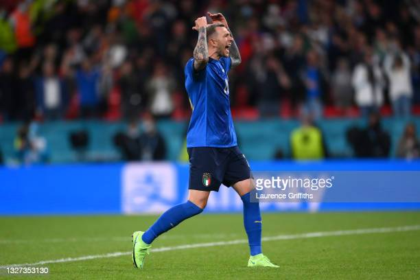 Federico Bernardeschi of Italy celebrates after scoring his team's fourth penalty in a penalty shoot out during the UEFA Euro 2020 Championship...