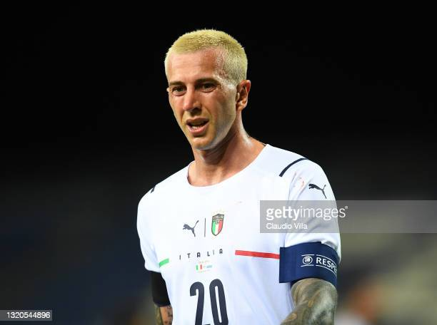 Federico Bernardeschi of Italy celebrates after scoring the opening goal during the international friendly match between Italy and San Marino at on...
