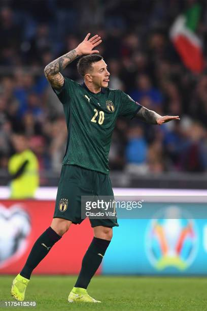 Federico Bernardeschi of Italy celebrates after scoring the second goal during the UEFA Euro 2020 qualifier between Italy and Greece on October 12,...