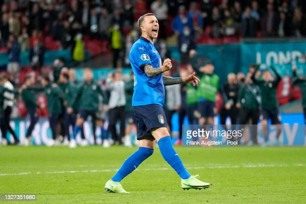 Federico Bernardeschi of Italy celebrates after scoring their team's fourth penalty in the penalty shoot out during the UEFA Euro 2020 Championship...