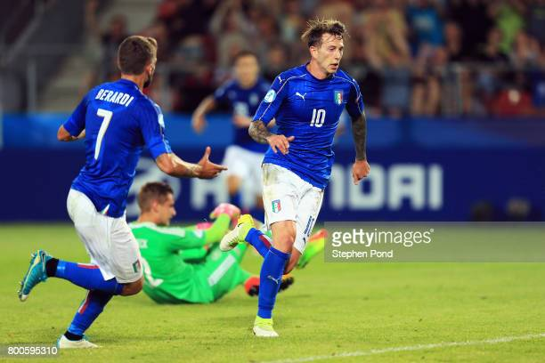Federico Bernardeschi of Italy celebrates as he scores their first goal during the 2017 UEFA European Under21 Championship Group C match between...