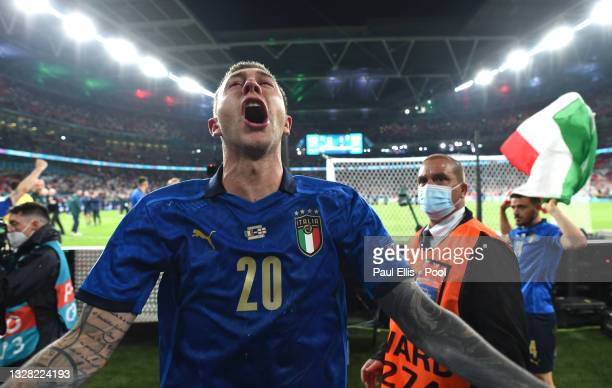 Federico Bernardeschi of Italy celebrates their side's victory after the UEFA Euro 2020 Championship Final between Italy and England at Wembley...