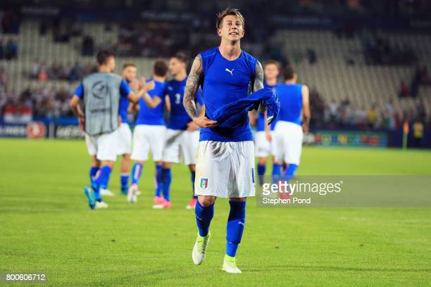 Federico Bernardeschi of Italy celebrates victory after the 2017 UEFA European Under21 Championship Group C match between Italy and Germany at...