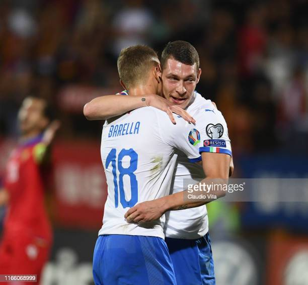 Federico Bernardeschi of Italy celebrates with Nicolò Barella after scoring a goal during the UEFA Euro 2020 qualifier between Armenia and Italy at...