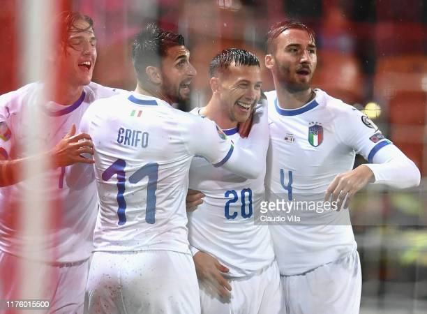 Federico Bernardeschi of Italy celebrates with team-mates after scoring the opening goal during the UEFA Euro 2020 qualifier between Liechtenstein...