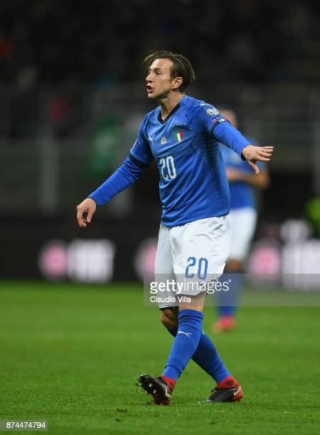 Federico Bernardeschi of Italy in action during the FIFA 2018 World Cup Qualifier PlayOff Second Leg between Italy and Sweden at San Siro Stadium on...