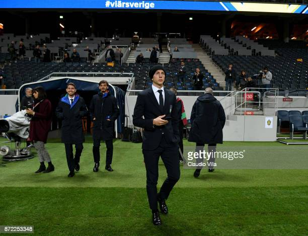 Federico Bernardeschi of Italy looks ok during Italy walk around at Friends Arena on November 9 2017 in Stockholm Sweden