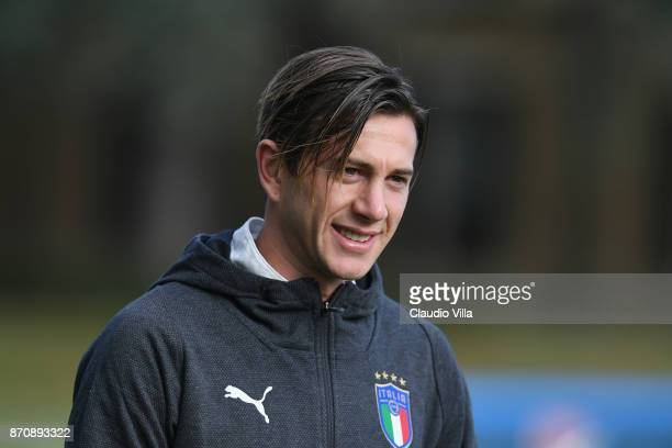 Federico Bernardeschi of Italy looks on prior to the training session at Italy club's training ground at Coverciano on November 6 2017 in Florence...