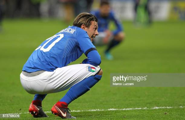Federico Bernardeschi of Italy reacts after loosing at the end of the FIFA 2018 World Cup Qualifier PlayOff Second Leg between Italy and Sweden at...