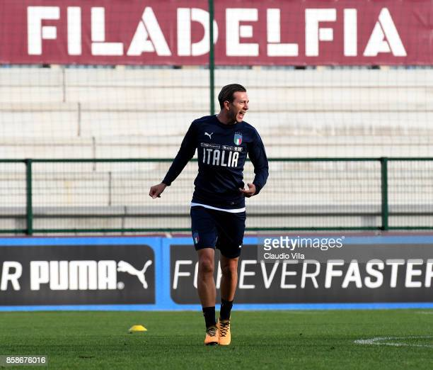 Federico Bernardeschi of Italy reacts during a Italy training session at Filadelfia Stadium on October 7 2017 in Turin Italy