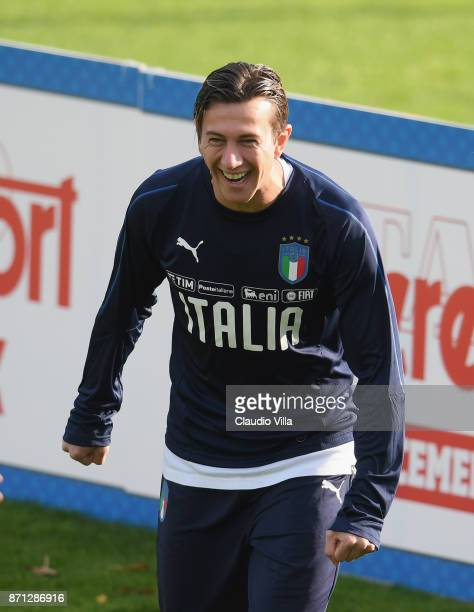 Federico Bernardeschi of Italy smiles during a training session at Italy club's training ground at Coverciano on November 7 2017 in Florence Italy