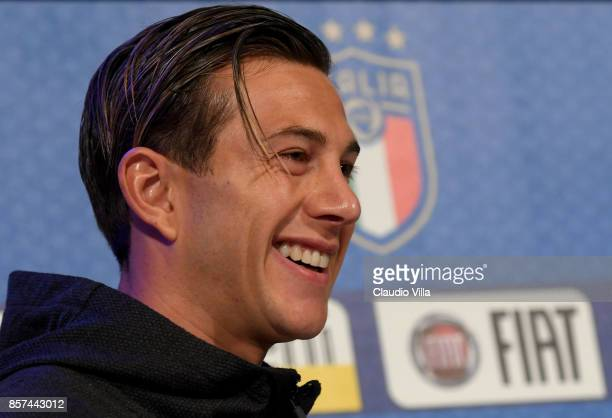 Federico Bernardeschi of Italy speaks with a media during a press conference at Italy club's training ground at Coverciano on October 4 2017 in...