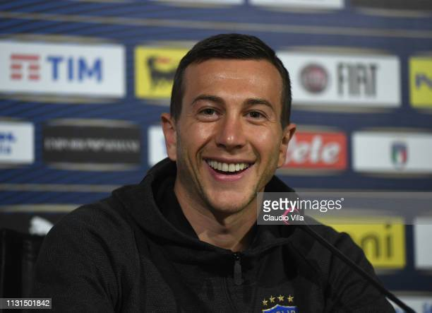 Federico Bernardeschi of Italy speaks with the media during a press conference at Centro Tecnico Federale di Coverciano on March 19, 2019 in...