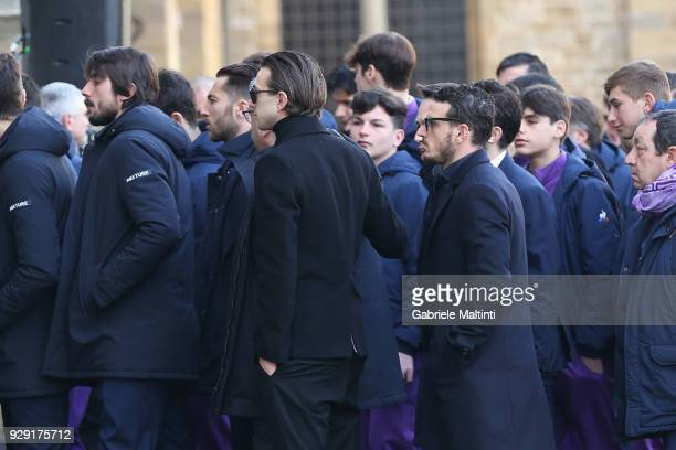 Federico Bernardeschi of Juventus and Alessandro Florenzi of AS Roma during the funeral of Davide Astori on March 8 2018 in Florence Italy The...