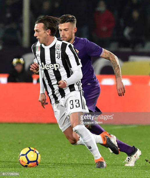 Federico Bernardeschi of Juventus and Cristiano Biraghi of ACF Fiorentina in action during the serie A match between ACF Fiorentina and Juventus at...